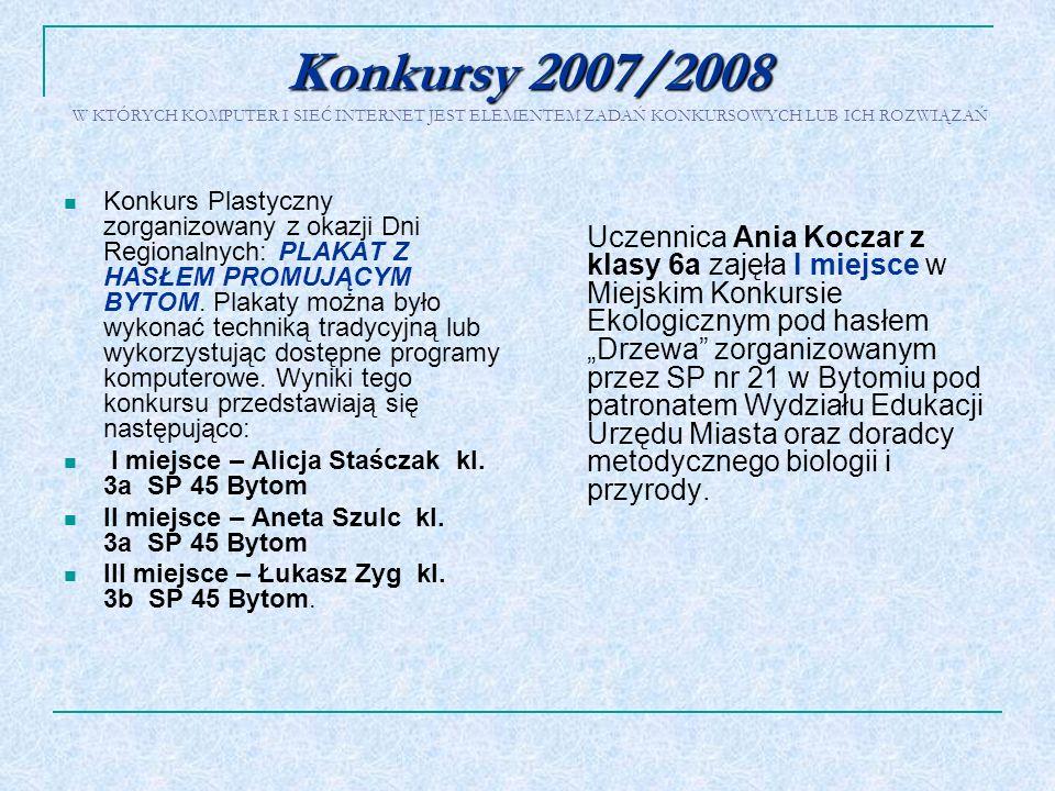 Konkursy 2007/2008 Konkursy 2007/2008 W KTÓRYCH KOMPUTER I SIEĆ INTERNET JEST ELEMENTEM ZADAŃ KONKURSOWYCH LUB ICH ROZWIĄZAŃ Konkurs Plastyczny zorgan