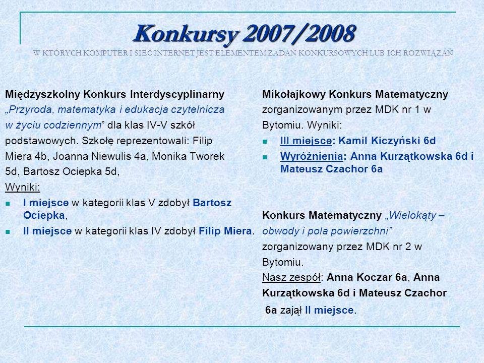 Konkursy 2007/2008 Konkursy 2007/2008 W KTÓRYCH KOMPUTER I SIEĆ INTERNET JEST ELEMENTEM ZADAŃ KONKURSOWYCH LUB ICH ROZWIĄZAŃ Międzyszkolny Konkurs Int