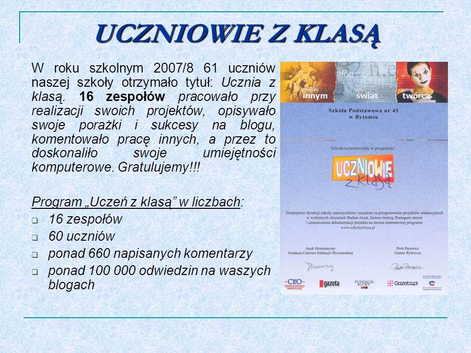 UCZNIOWIE Z KLASĄ W roku szkolnym 2007/8 61 uczniów naszej szkoły otrzymało tytuł: Ucznia z klasą. 16 zespołów pracowało przy realizacji swoich projek