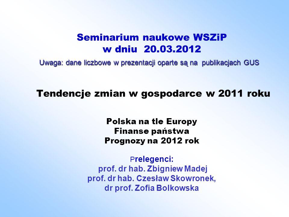 Seminarium naukowe WSZiP w dniu 20.03.2012 Tendencje zmian w gospodarce w 2011 roku Polska na tle Europy Finanse państwa Prognozy na 2012 rok P relege