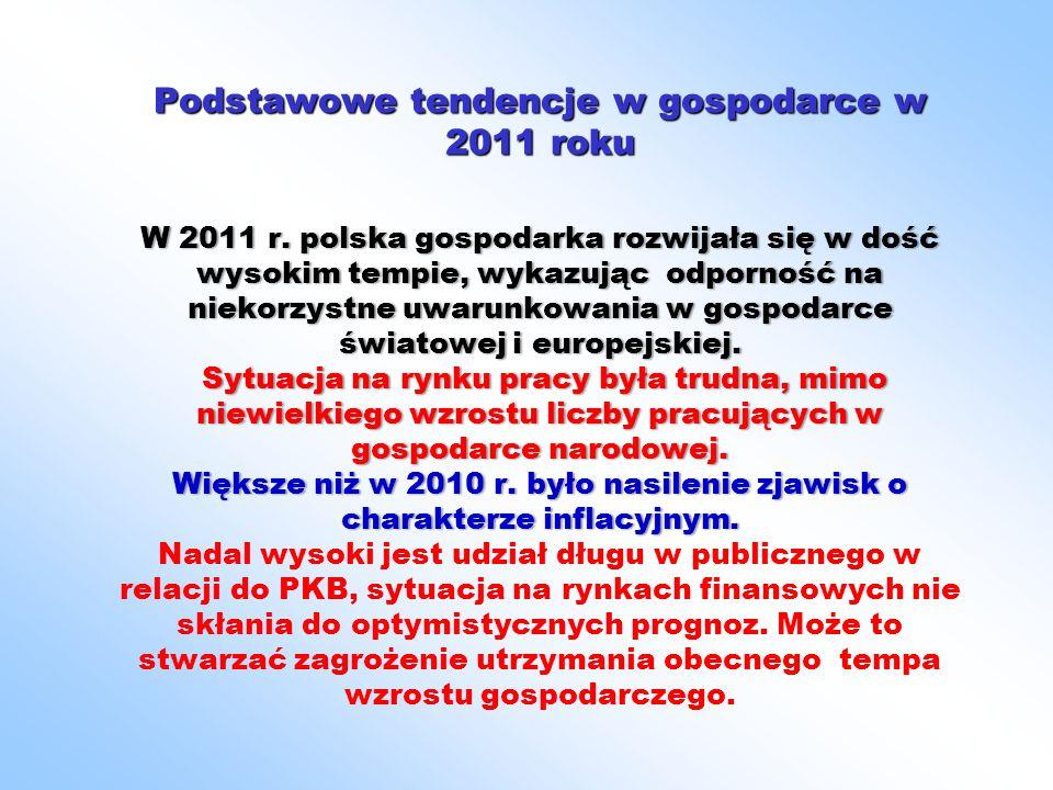 Podstawowe tendencje w gospodarce w 2011 roku W 2011 r. polska gospodarka rozwijała się w dość wysokim tempie, wykazując odporność na niekorzystne uwa