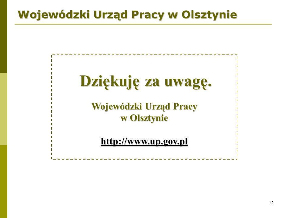 12 Wojewódzki Urząd Pracy w Olsztynie Wojewódzki Urząd Pracy w Olsztynie http://www.up.gov.pl Dziękuję za uwagę.