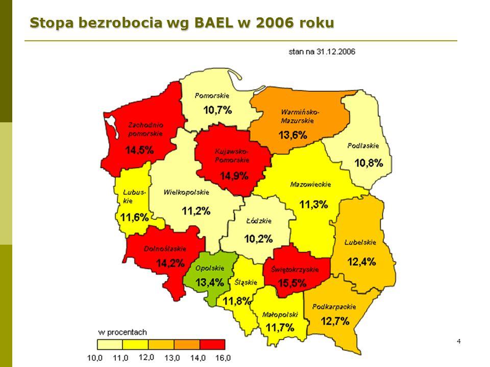 4 Stopa bezrobocia wg BAEL w 2006 roku
