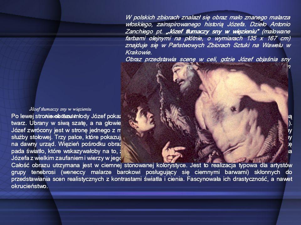 Po lewej stronie obrazu młody Józef pokazuje trzy palce lewej dłoni. Ukazany jest z profilu, ma sympatyczną twarz. Ubrany w siwą szatę, a na głowie ma