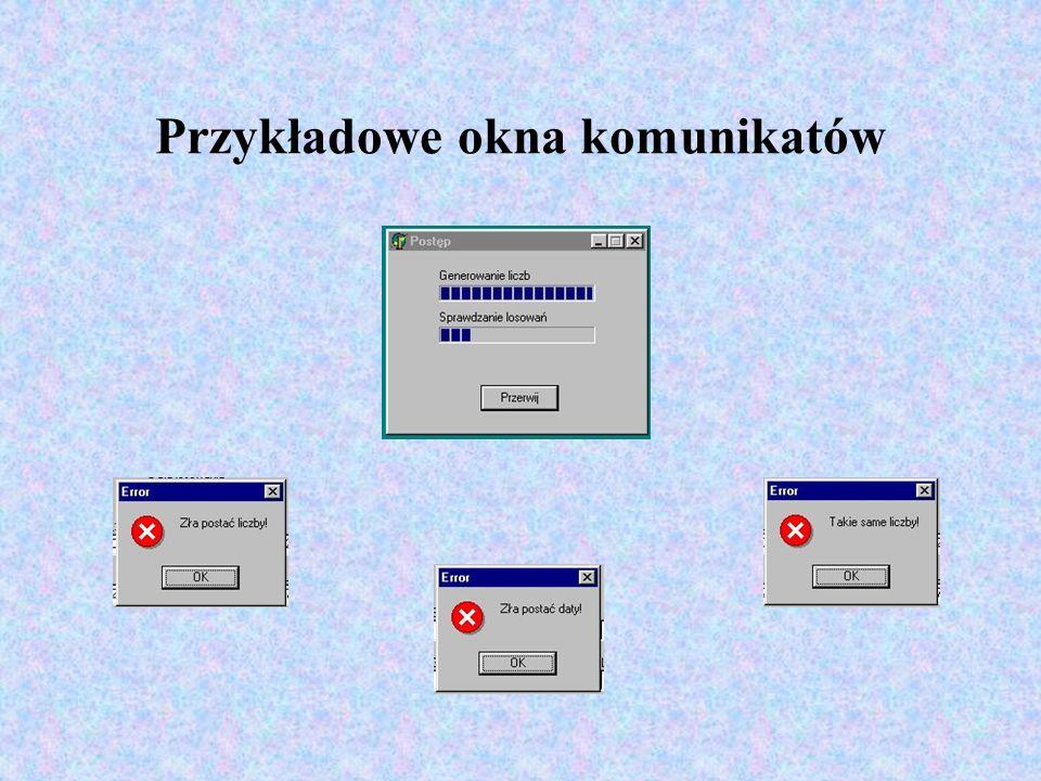 Przykładowe okna komunikatów