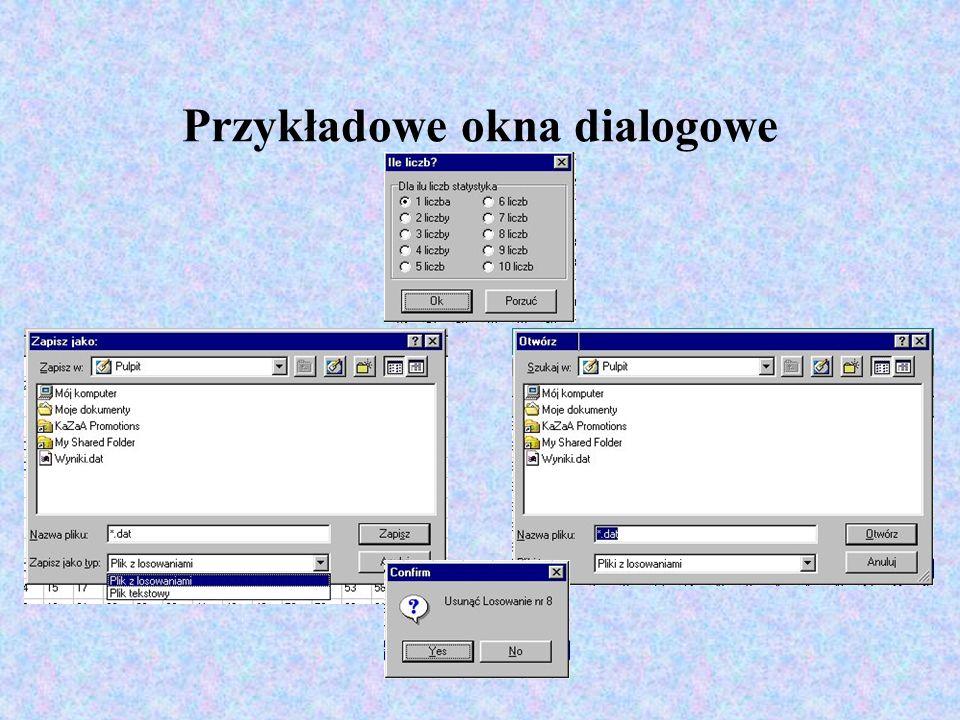 Przykładowe okna dialogowe