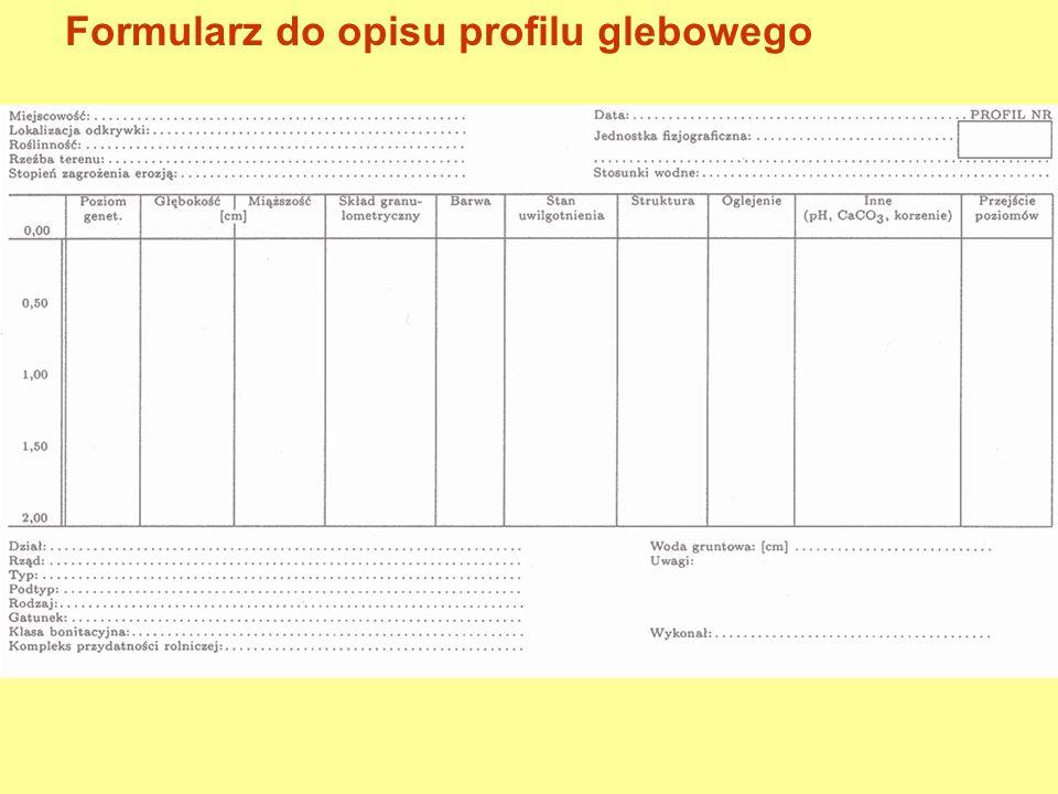 Formularz do opisu profilu glebowego – część ogólna Miejscowość: ………………………………….