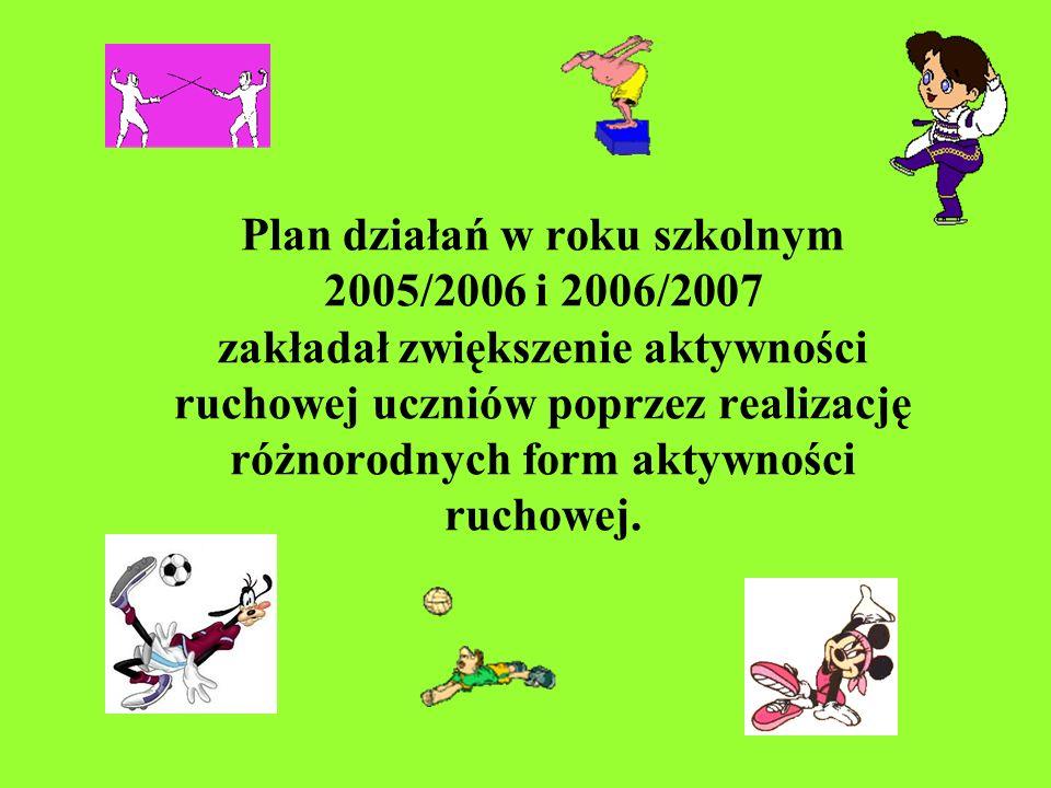 Plan działań w roku szkolnym 2005/2006 i 2006/2007 zakładał zwiększenie aktywności ruchowej uczniów poprzez realizację różnorodnych form aktywności ru
