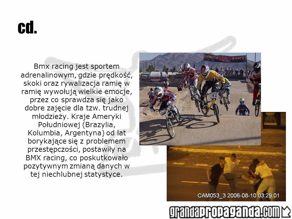 cd. Bmx racing jest sportem adrenalinowym, gdzie prędkość, skoki oraz rywalizacja ramię w ramię wywołują wielkie emocje, przez co sprawdza się jako do