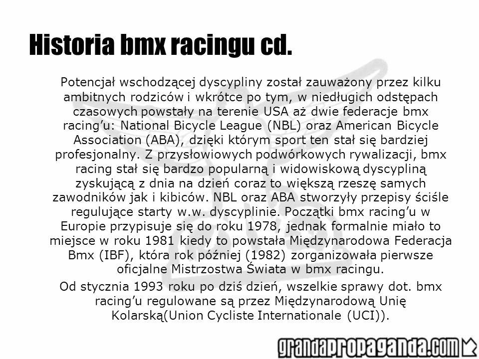 Historia bmx racingu cd. Potencjał wschodzącej dyscypliny został zauważony przez kilku ambitnych rodziców i wkrótce po tym, w niedługich odstępach cza