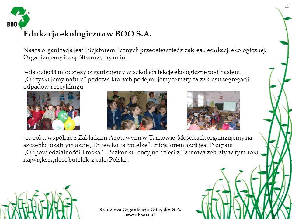 Branżowa Organizacja Odzysku S.A. www.boosa.pl Edukacja ekologiczna w BOO S.A. Nasza organizacja jest inicjatorem licznych przedsięwzięć z zakresu edu