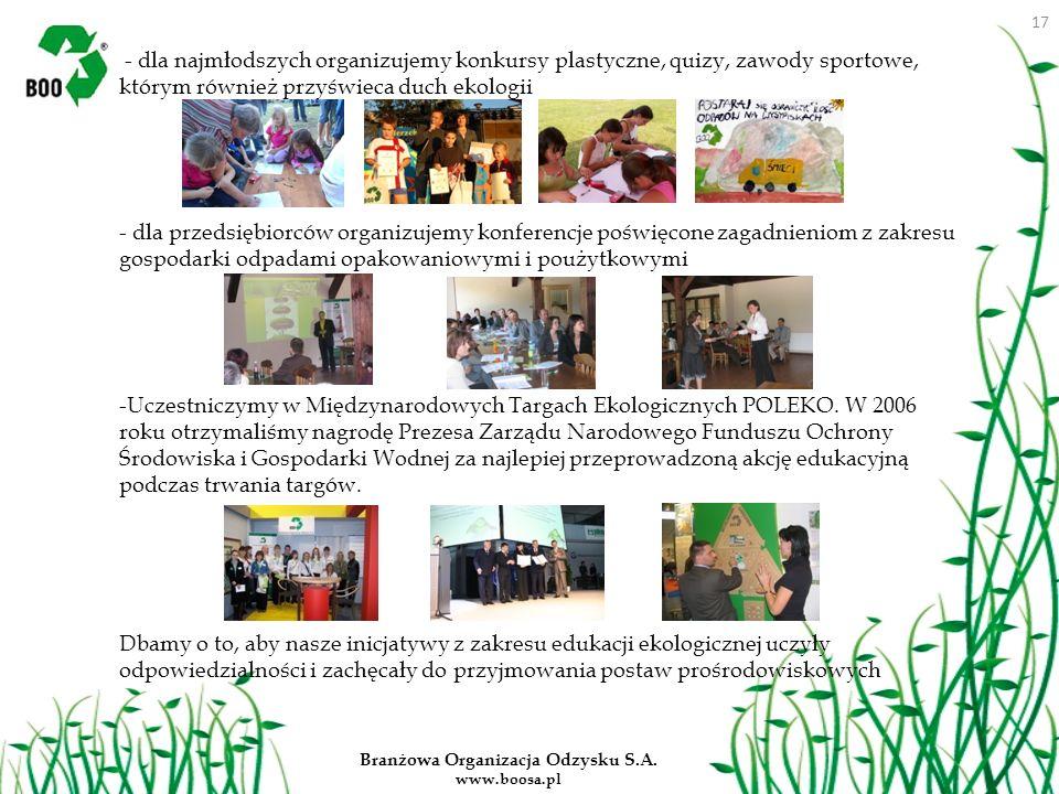 Branżowa Organizacja Odzysku S.A. www.boosa.pl - dla najmłodszych organizujemy konkursy plastyczne, quizy, zawody sportowe, którym również przyświeca