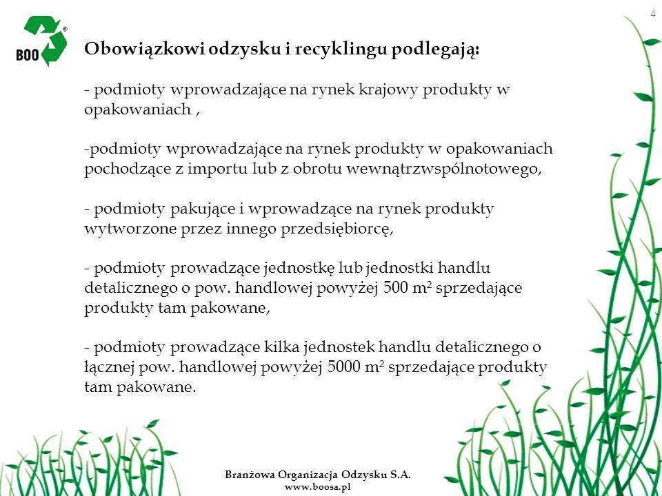 Branżowa Organizacja Odzysku S.A. www.boosa.pl Obowiązkowi odzysku i recyklingu podlegają: - podmioty wprowadzające na rynek krajowy produkty w opakow