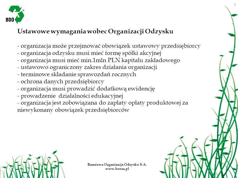 7 Branżowa Organizacja Odzysku S.A. www.boosa.pl Ustawowe wymagania wobec Organizacji Odzysku - organizacja może przejmować obowiązek ustawowy przedsi