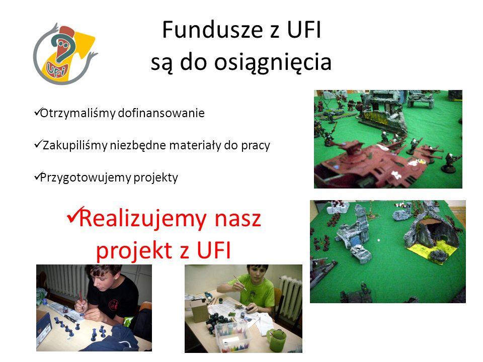Fundusze z UFI są do osiągnięcia Otrzymaliśmy dofinansowanie Zakupiliśmy niezbędne materiały do pracy Przygotowujemy projekty Realizujemy nasz projekt