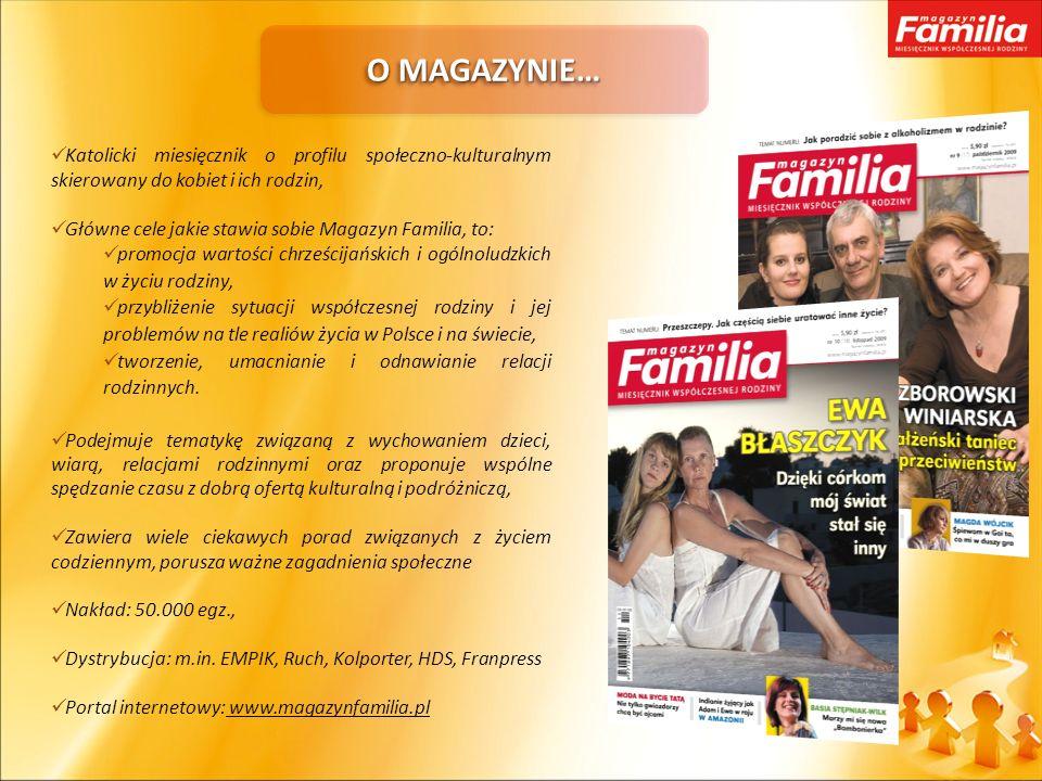O MAGAZYNIE… Katolicki miesięcznik o profilu społeczno-kulturalnym skierowany do kobiet i ich rodzin, Główne cele jakie stawia sobie Magazyn Familia,