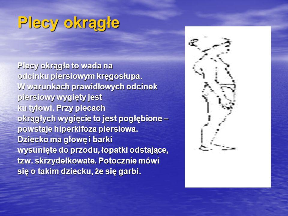 Plecy okrągłe Plecy okrągłe to wada na odcinku piersiowym kręgosłupa. W warunkach prawidłowych odcinek piersiowy wygięty jest ku tyłowi. Przy plecach