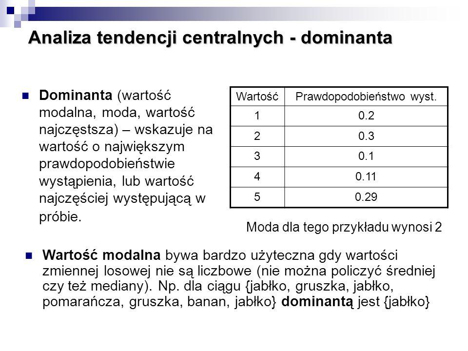 Dominanta (wartość modalna, moda, wartość najczęstsza) – wskazuje na wartość o największym prawdopodobieństwie wystąpienia, lub wartość najczęściej wy
