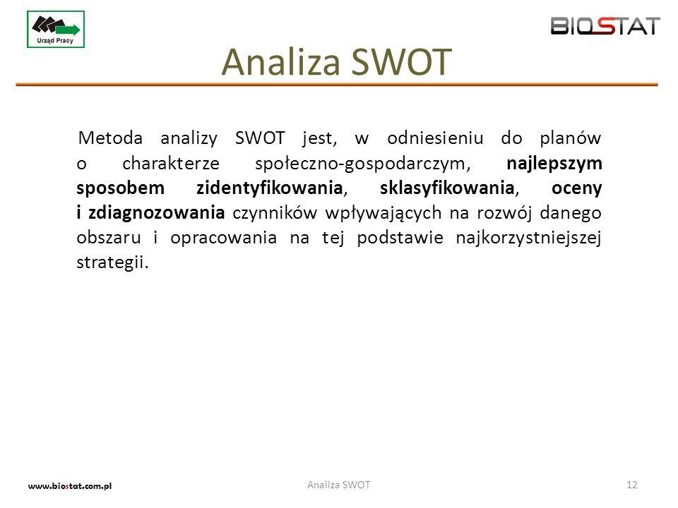 Metoda analizy SWOT jest, w odniesieniu do planów o charakterze społeczno-gospodarczym, najlepszym sposobem zidentyfikowania, sklasyfikowania, oceny i