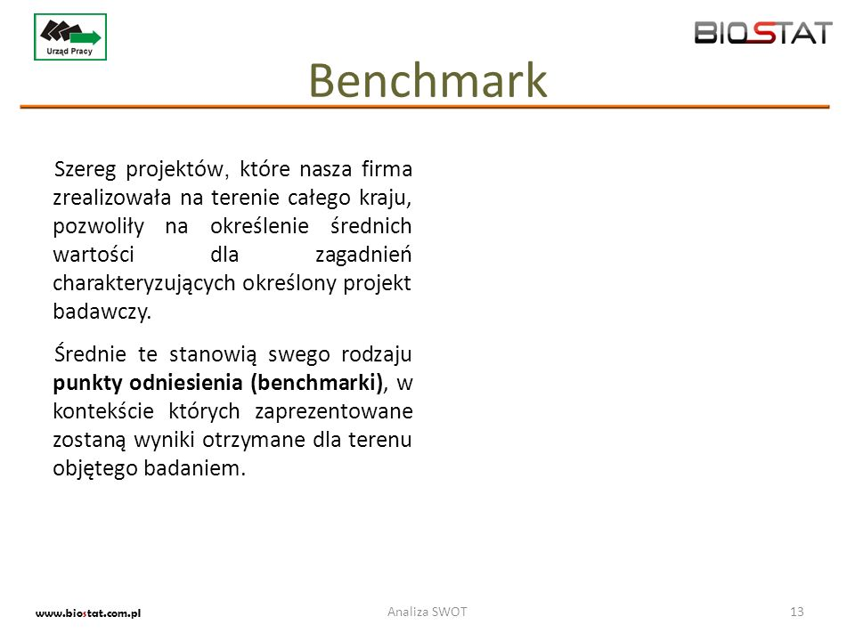 Benchmark Szereg projektów, które nasza firma zrealizowała na terenie całego kraju, pozwoliły na określenie średnich wartości dla zagadnień charaktery