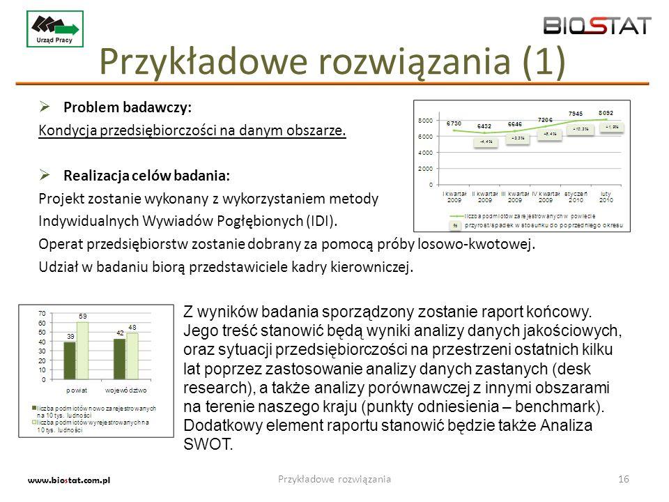 Przykładowe rozwiązania (1) Problem badawczy: Kondycja przedsiębiorczości na danym obszarze. Realizacja celów badania: Projekt zostanie wykonany z wyk