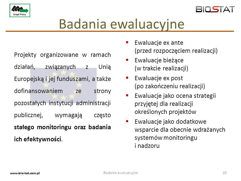 Badania ewaluacyjne20 www.biostat.com.pl Ewaluacje ex ante (przed rozpoczęciem realizacji) Ewaluacje bieżące (w trakcie realizacji) Ewaluacje ex post