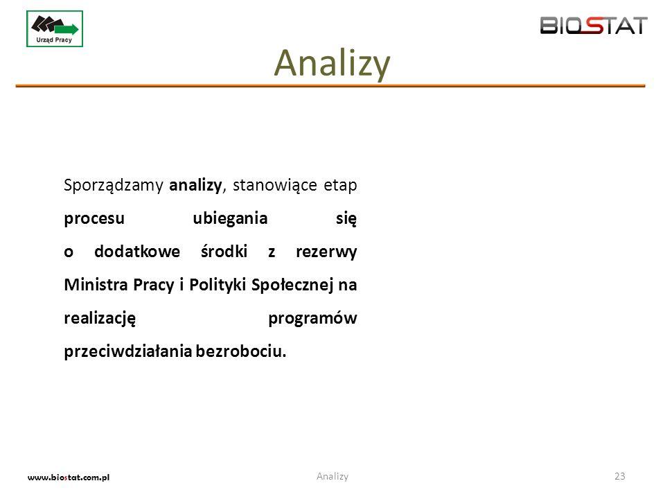 Analizy 23 www.biostat.com.pl Sporządzamy analizy, stanowiące etap procesu ubiegania się o dodatkowe środki z rezerwy Ministra Pracy i Polityki Społec