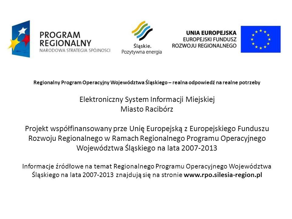 Regionalny Program Operacyjny Województwa Śląskiego – realna odpowiedź na realne potrzeby Elektroniczny System Informacji Miejskiej Miasto Racibórz Pr