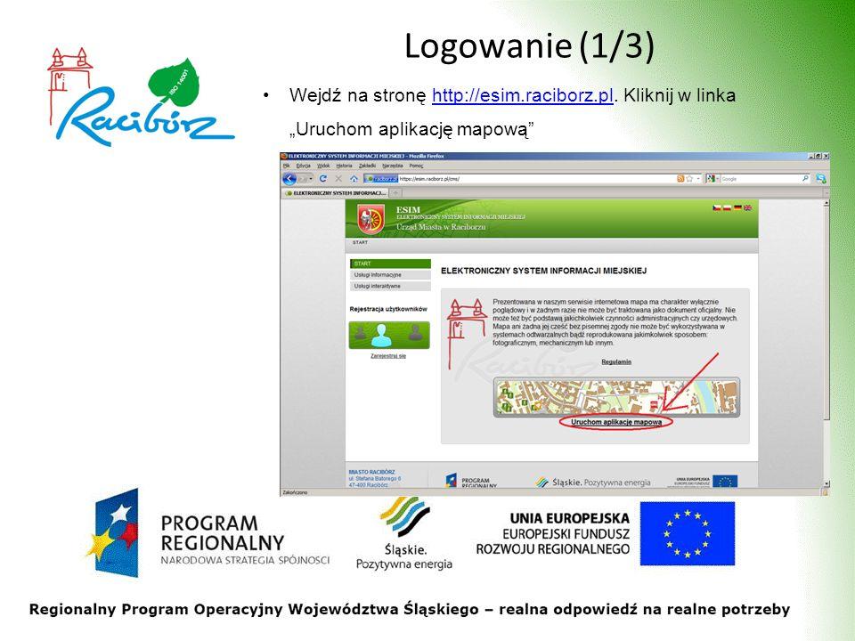 Logowanie (1/3) Wejdź na stronę http://esim.raciborz.pl. Kliknij w linka Uruchom aplikację mapowąhttp://esim.raciborz.pl