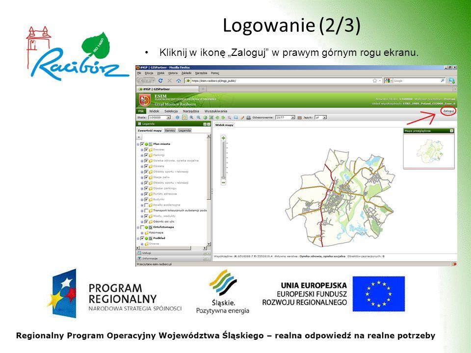 Logowanie (2/3) Kliknij w ikonę Zaloguj w prawym górnym rogu ekranu.