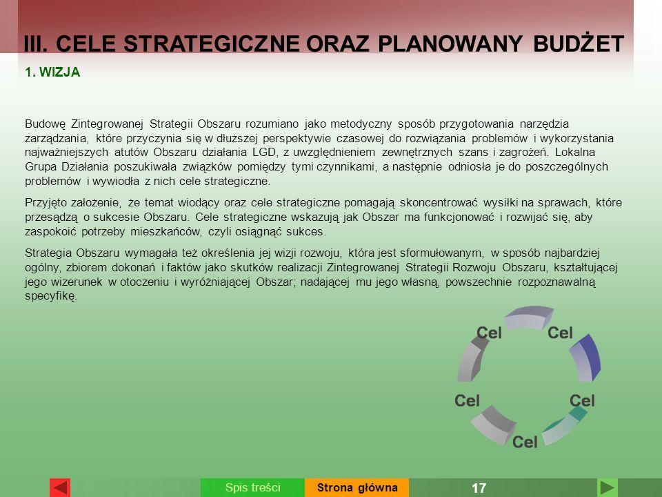 III. CELE STRATEGICZNE ORAZ PLANOWANY BUDŻET 1. WIZJA Budowę Zintegrowanej Strategii Obszaru rozumiano jako metodyczny sposób przygotowania narzędzia