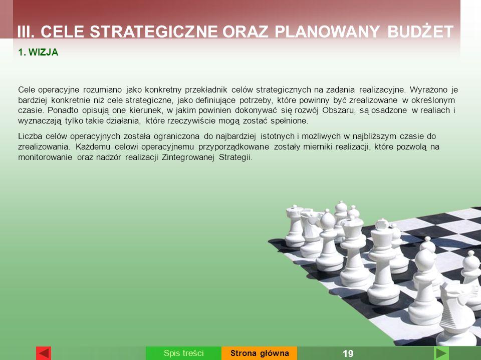 Cele operacyjne rozumiano jako konkretny przekładnik celów strategicznych na zadania realizacyjne. Wyrażono je bardziej konkretnie niż cele strategicz