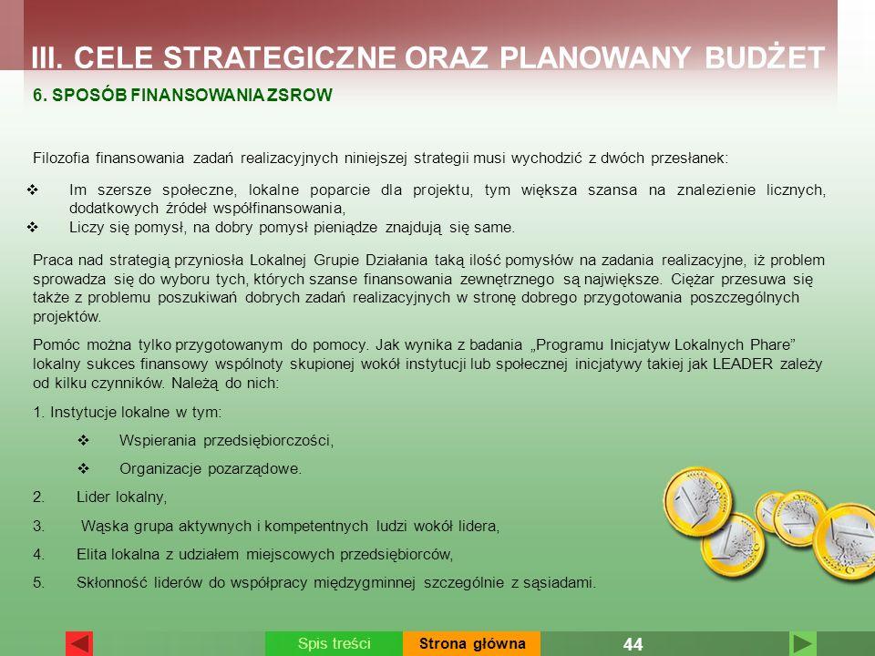 III. CELE STRATEGICZNE ORAZ PLANOWANY BUDŻET 6. SPOSÓB FINANSOWANIA ZSROW Filozofia finansowania zadań realizacyjnych niniejszej strategii musi wychod