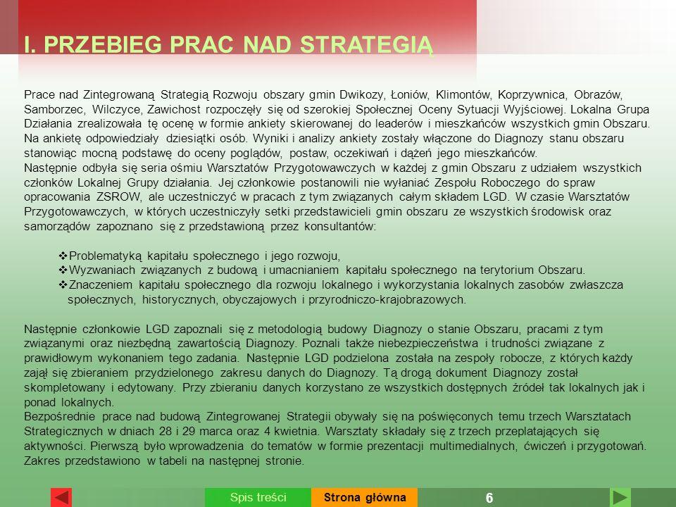 I. PRZEBIEG PRAC NAD STRATEGIĄ Prace nad Zintegrowaną Strategią Rozwoju obszary gmin Dwikozy, Łoniów, Klimontów, Koprzywnica, Obrazów, Samborzec, Wilc