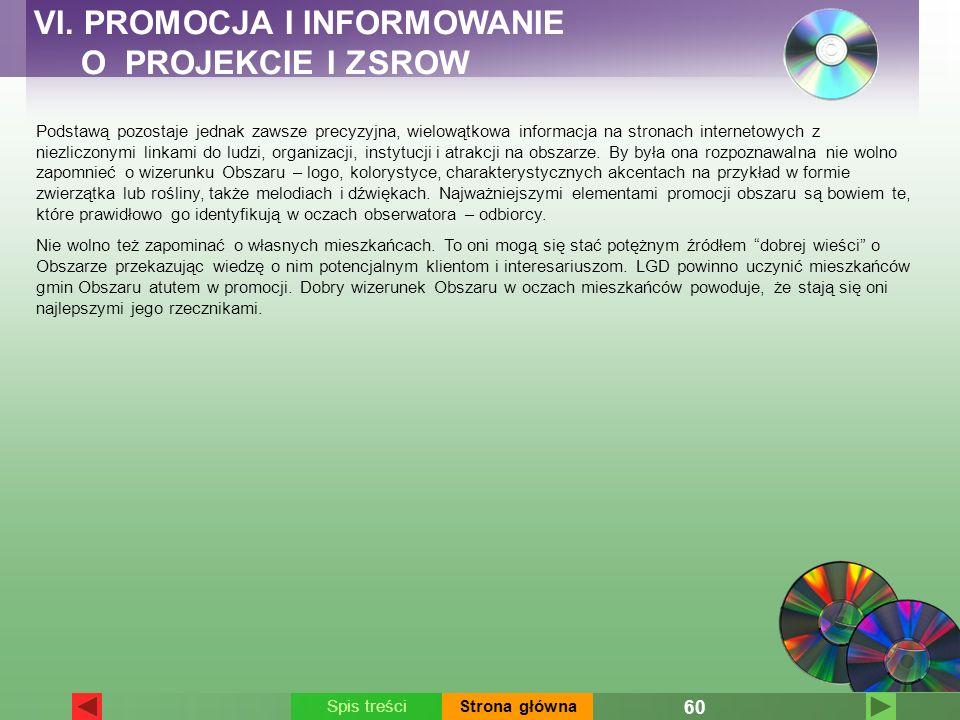 VI. PROMOCJA I INFORMOWANIE O PROJEKCIE I ZSROW Podstawą pozostaje jednak zawsze precyzyjna, wielowątkowa informacja na stronach internetowych z niezl