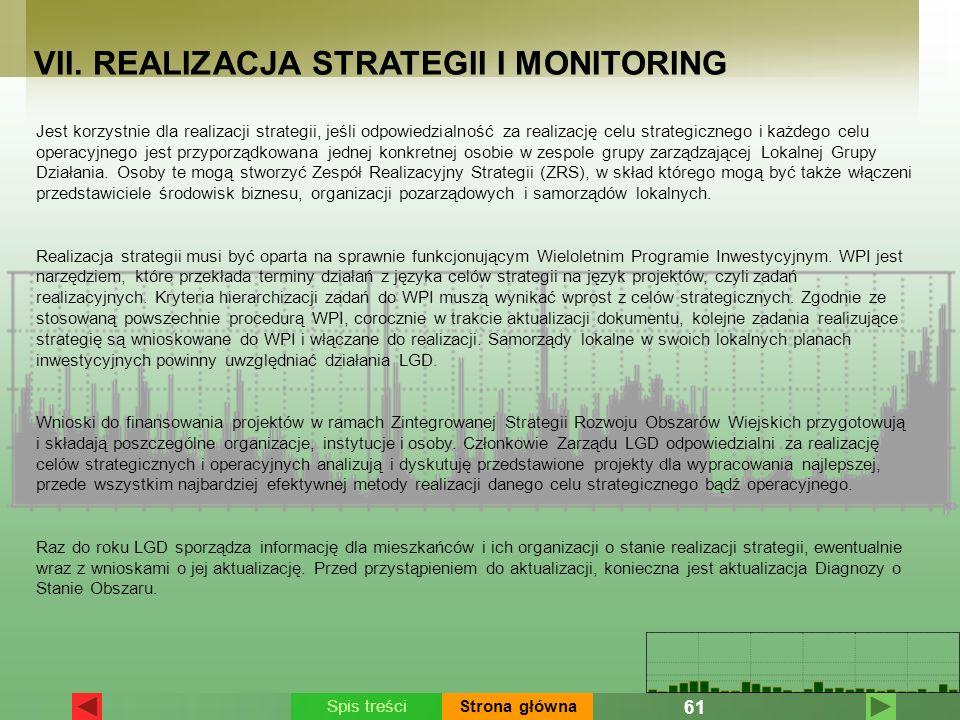 VII. REALIZACJA STRATEGII I MONITORING Jest korzystnie dla realizacji strategii, jeśli odpowiedzialność za realizację celu strategicznego i każdego ce
