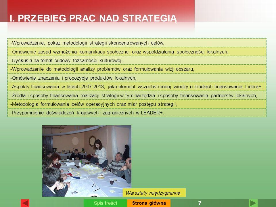 -Wprowadzenie, pokaz metodologii strategii skoncentrowanych celów, -Omówienie zasad wzmożenia komunikacji społecznej oraz współdziałania społeczności