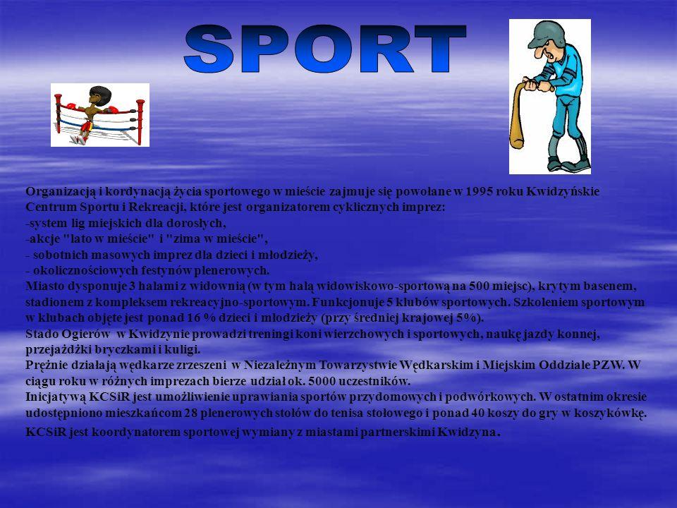 Organizacją i kordynacją życia sportowego w mieście zajmuje się powołane w 1995 roku Kwidzyńskie Centrum Sportu i Rekreacji, które jest organizatorem cyklicznych imprez: -system lig miejskich dla dorosłych, -akcje lato w mieście i zima w mieście , - sobotnich masowych imprez dla dzieci i młodzieży, - okolicznościowych festynów plenerowych.