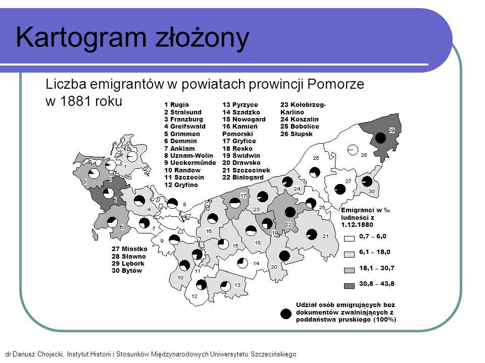 Kartogram złożony 0,7 – 6,0 6,1 – 18,0 30,8 – 43,8 18,1 – 30,7 1 Rugia 2 Stralsund 3 Franzburg 4 Greifswald 5 Grimmen 6 Demmin 7 Anklam 8 Uznam-Wolin