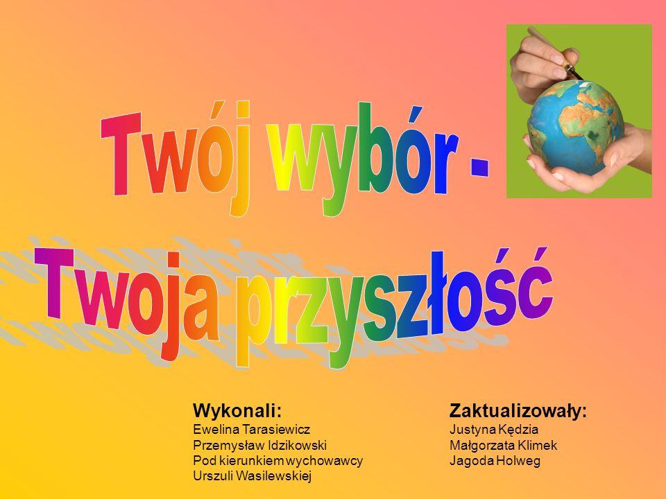 Wykonali: Ewelina Tarasiewicz Przemysław Idzikowski Pod kierunkiem wychowawcy Urszuli Wasilewskiej Zaktualizowały: Justyna Kędzia Małgorzata Klimek Jagoda Holweg