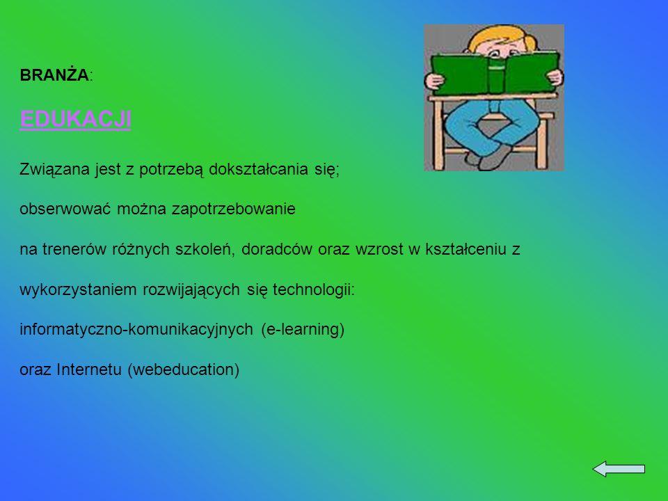 BRANŻA: EDUKACJI Związana jest z potrzebą dokształcania się; obserwować można zapotrzebowanie na trenerów różnych szkoleń, doradców oraz wzrost w kształceniu z wykorzystaniem rozwijających się technologii: informatyczno-komunikacyjnych (e-learning) oraz Internetu (webeducation)