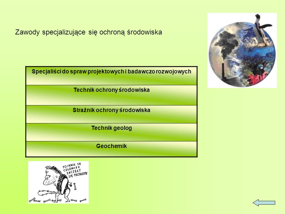 Zawody specjalizujące się ochroną środowiska Specjaliści do spraw projektowych i badawczo rozwojowych Technik ochrony środowiska Strażnik ochrony środowiska Technik geolog Geochemik