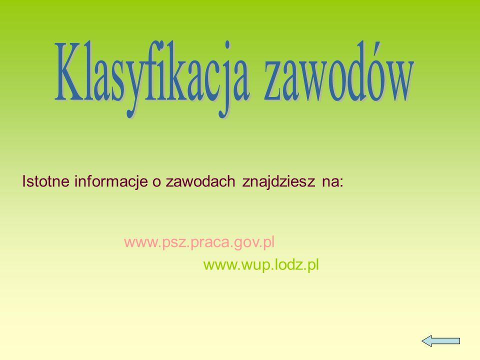 Istotne informacje o zawodach znajdziesz na: www.psz.praca.gov.pl www.wup.lodz.pl