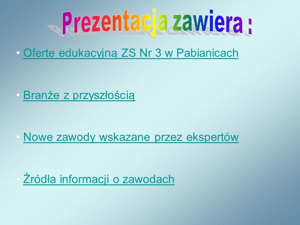 Ofertę edukacyjną ZS Nr 3 w Pabianicach Branże z przyszłością Nowe zawody wskazane przez ekspertów Źródła informacji o zawodach