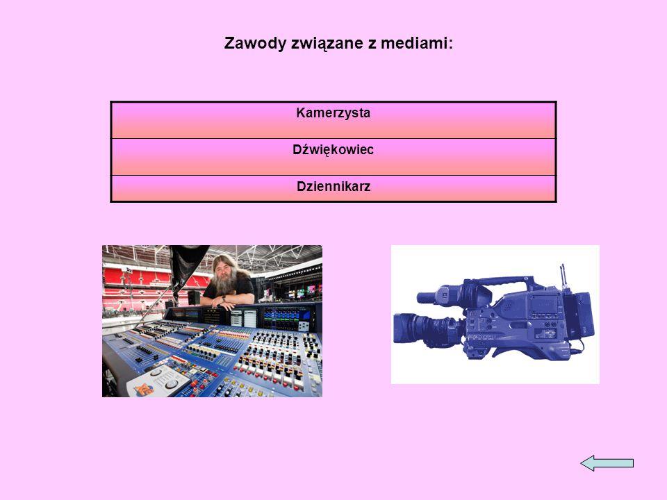 Zawody związane z mediami: Kamerzysta Dźwiękowiec Dziennikarz