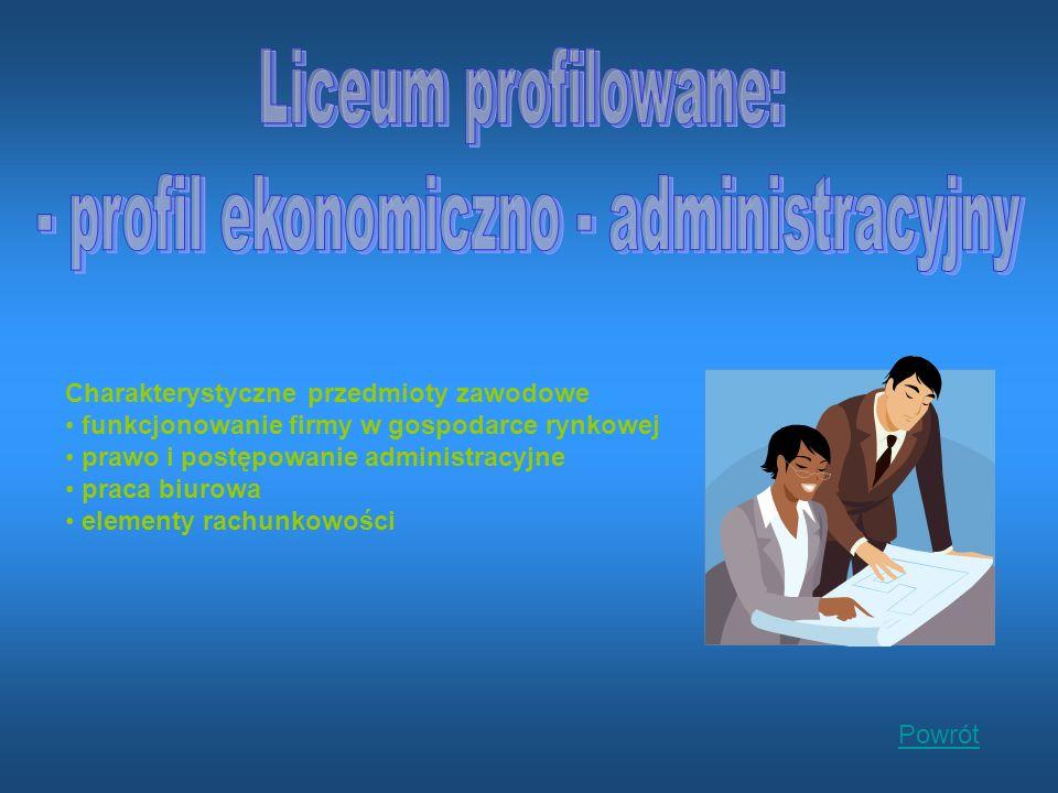 Charakterystyczne przedmioty zawodowe funkcjonowanie firmy w gospodarce rynkowej prawo i postępowanie administracyjne praca biurowa elementy rachunkowości Powrót