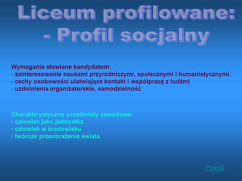 Wymagania stawiane kandydatom: - zainteresowanie naukami przyrodniczymi, społecznymi i humanistycznymi.