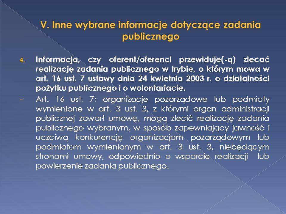 4. Informacja, czy oferent/oferenci przewiduje(-ą) zlecać realizację zadania publicznego w trybie, o którym mowa w art. 16 ust. 7 ustawy dnia 24 kwiet