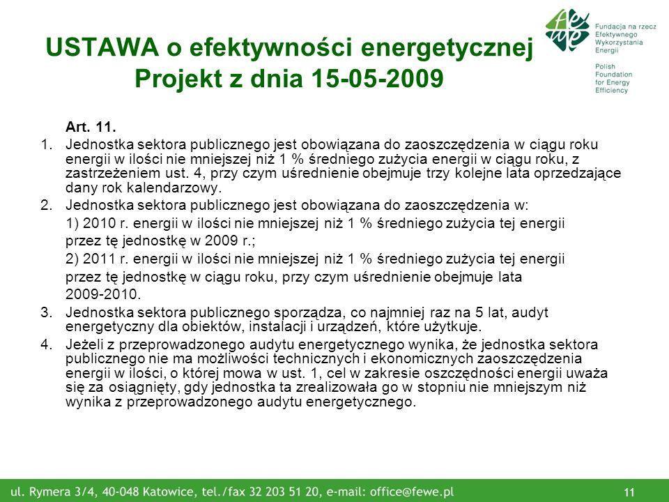 11 USTAWA o efektywności energetycznej Projekt z dnia 15-05-2009 Art.