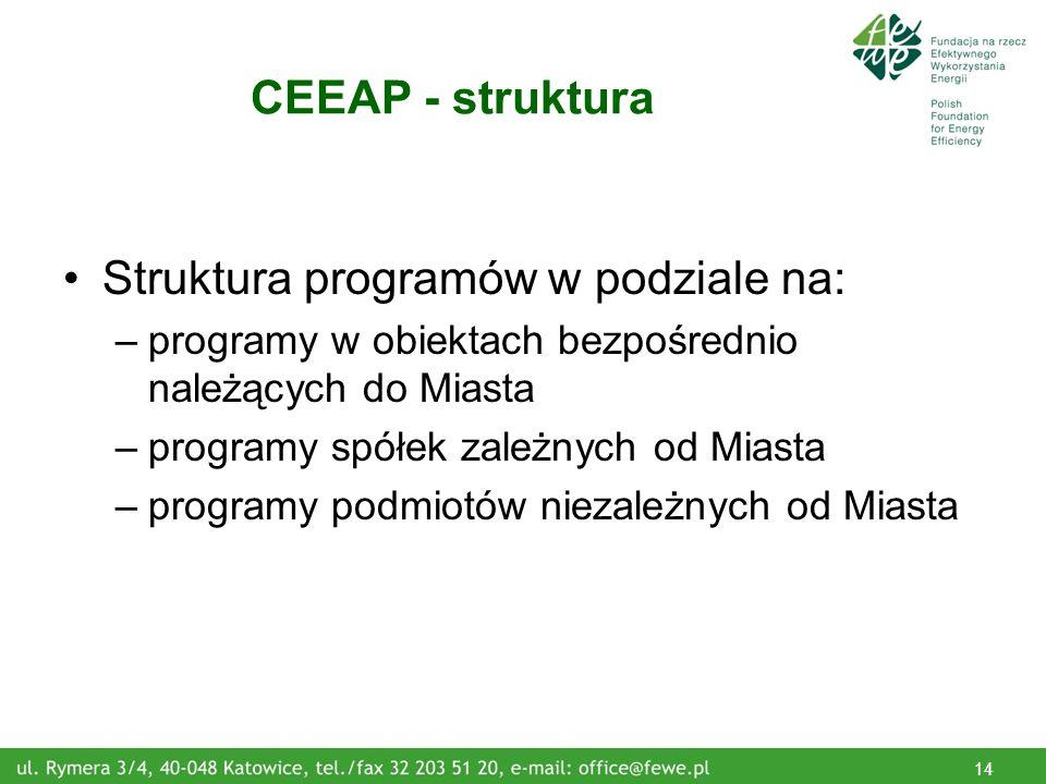 14 CEEAP - struktura Struktura programów w podziale na: –programy w obiektach bezpośrednio należących do Miasta –programy spółek zależnych od Miasta –programy podmiotów niezależnych od Miasta